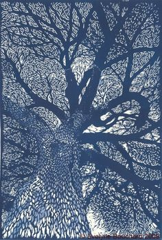 #linocut #illustration #tree #blue