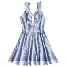 Occasion: Casual /Going Out/Night Out :    Material: Cotton/Polyester :    Dresses Length: Mini :    Neckline: Plunging Neck :    Sleeve Length: Sleeveless :    Embellishment: Criss-Cross :    Pattern Type: Striped :    With Belt: No :    Season: Summer :    Weight: 0.213 kg :    Package Contents: 1 x Dress: