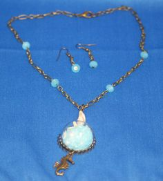 beach inspired, ocean theme, seashell, aqua bead, blue crystal sand, starfish, seahore, antique goldtone, necklace earring set by RoadJewels on Etsy