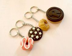 Items similar to Keychain handmade of polymer clay - sweets, cookies, croissant, donuts kawaii on Etsy Polymer Clay Sweets, Polymer Clay Miniatures, Polymer Clay Charms, Polymer Clay Art, Clay Keychain, Handmade Keychains, Diy Crafts To Do, Clay Flowers, Diy Clay
