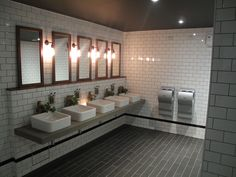 Cool industrial toilet design. With stylish subway tiles from Solus Ceramics.