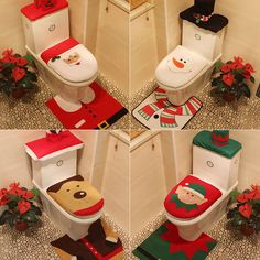 Toilet Seat Cover Christmas Happy Santa Toilet Set Christmas Decoration Ornament #Unbranded