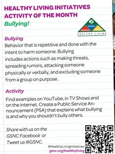This month's GSNC Healthy Living Initiatives Activity of the month focuses on the topic of Bullying!  Don't forget to share your project with us on Facebook at Girl Scouts of Nassau County or on Twitter @Girl Scouts of Nassau County  :)