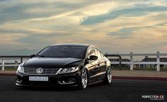Volkswagen CC Sport: Midnight Pearl Black on VIP Modular VRC13 wheels and air suspension.