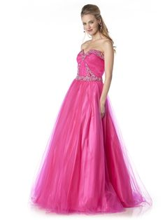 Full length mesh ball gown with classy embroidery along the bust, empire waistline, and bodice.