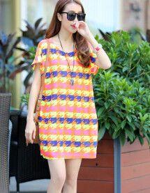 New Fashion Women's Casual Loose Summer Dress XXL 3XL 4XL Plus Size Women European Style Print Dresses Long Tops Tees