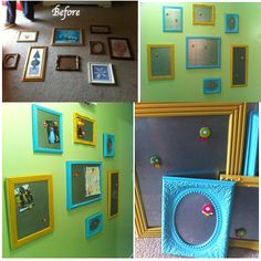 Framed magnetic sheets of metal to display our future kids artwork. Our photos for now...