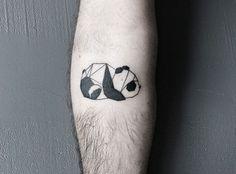 panda / nature / animal / geometry / shapes / lines / origami / arm tat