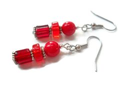 Modern Red Earrings Classic Red Earrings by chicagolandia on Etsy, $17.00