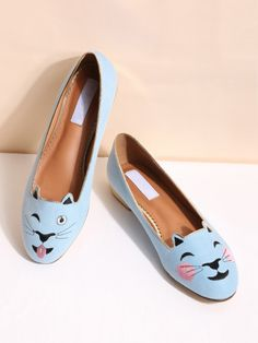 SheIn offers Blue Cat Embroidery Ballet Flats & more to fit your fashionable needs. Cat Shoes, Women's Shoes, Online Shopping Shoes, Blue Cats, Shoe Shop, Beautiful Shoes, Ballet Flats, Ballerina, Cat Lovers