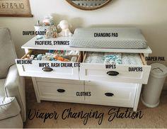 Baby Dresser Organization, Diaper Organization, Kids Room Organization, Organization Station, Diaper Changing Station, Baby Changing Table, Changing Dresser, Baby Room Design, Pad