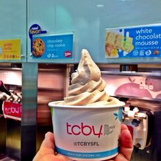 "@TCBY Brickell and Coral Gables's photo: ""NEW Mrs.Fields chocolate chip cookie froyo swirl it with White Chocolate Mousse at TCBY Mary Brickell Village we are open until 11:00pm! 786-517-5555"""