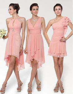 Affordable Sexy Short Chiffon Bridesmaid Dresses for Summer Wedding