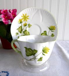 Shelley China Dainty Celandine Cup and Saucer Yellow Botanical
