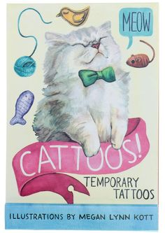 CATTOOS! TEMPORARY TATTOOS BOOK $13.00 #cats #tattoos #temporarytattoos