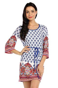 INDIAN PRINT 3/4 SLEEVE KNIT SHIFT DRESS- Ivory