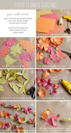 How to make a paper flower garland tutorial --  -- with FREE Templates from Ellinée
