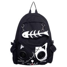 Speaker Bag by Banned KITTY Cat Animal Rucksack Backpack Emo Gothic... (37 CAD) ❤ liked on Polyvore featuring bags, backpacks, cat bag, cat backpack, blue bag, gothic backpack and blue backpack