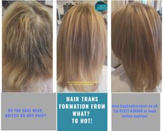 """Here is our latest hair colour transformation. Sue came to us with weak, damage, brittle and broken hair. We transformed her hair using #Olaplex, #babylightsandbalayage and a combination of #blonde and #brown #haircolour. We were so happy when Sue said """" everyone has told me this is the BEST hair colour i""""ve had*.  Our top team of hair colour experts can change your hair from what? To hot! Visit our website to see all our work or to book online anyplace anytime."""