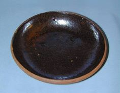 Antique Manganese Glazed Brown Redware Plate Southeastern Pennsylvania