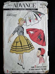VINTAGE PATTERN ADVANCE #8076 GIRLS CIRCLE SKIRT AND CAP 1950's Pattern for…