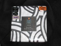 Duvet Cover Set Twin & TwinXL Cynthia Rowley NWT Charcoal/White Geometric #CynthiaRowley