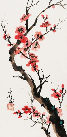 Grace Lin – Chinese painting – Flowers – Plum Blossom – Art and Literature Chinese Painting Flowers, Chinese Flowers, Japanese Artwork, Japanese Painting, Japanese Watercolor, Chinese Landscape Painting, Chinese Drawings, Chinese Art, Chinese Kunst