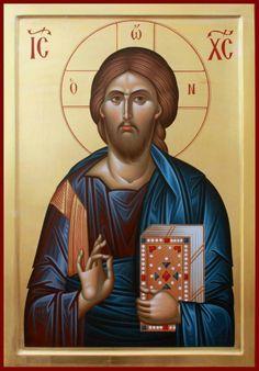 Byzantine Icons, Byzantine Art, Angelic Symbols, Christ Pantocrator, Sign Of The Cross, Orthodox Christianity, Orthodox Icons, Christian Art, Religious Art
