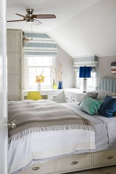 In a tiny coastal cottage, a corner desk also actsas a nightstand. Underbed drawers sneak in extra storage, while walls are covered in Designers Guild's Moselle linen give off a restful vibe. Grey Bedroom Design, Small Bedroom Designs, Gray Bedroom, Bedroom Colors, Master Bedrooms, Double Bedroom, Fall Bedroom, Woman Bedroom, Bedroom Decor