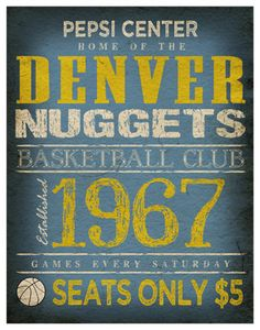 Denver Nuggets Print   11x14  Pepsi Center Poster  by TheLemonPeel, $22.00