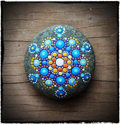 Jewel Drop Mandala Stone- soothing blues