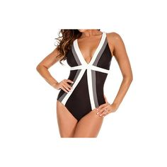 74853b5ca1 Miraclesuit Trilogy Deep V-Neck Colorblock One Piece Swimsuit 364252 - Miraclesuit  Swimwear