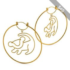 Disney Couture The Lion King Simba Outline Hoop Earrings Yellow Gold Plated