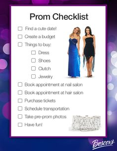 Make sure you have everything you need for Prom with this Prom Checklist.