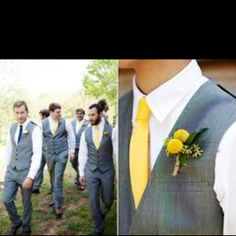 Navy blue, yellow, and grey wedding