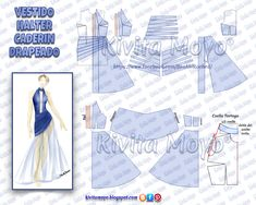 Draped halter dress with patterns Barbie Sewing Patterns, Doll Dress Patterns, Coat Patterns, Clothing Patterns, Formal Dress Patterns, Evening Dress Patterns, Patterns Of Fashion, Pattern Fashion, Crochet Backpack Pattern