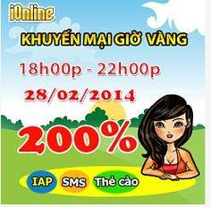 iOnline Giờ vàng X2 cực sốc http://taigameionline.vn/