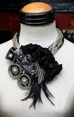 ODILE Black and Silver Wearable Art Statement by carlafoxdesign