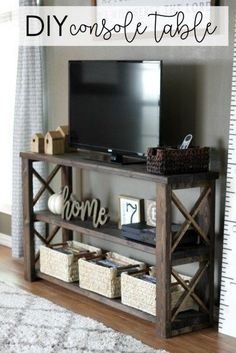 Farmhouse style DIY console table plans simple design easy to replicate Detailed instructions and only 50 worth of supplies Would you make your own Diy Möbelprojekte, Easy Diy, Diy Crafts, Farmhouse Tv Stand, Diy Tv Stand, Tv Table Stand, How To Build Tv Stand, Tv Stand Toy Storage, Rv Storage