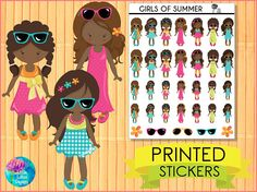 Girls of Summer Stickers - African American : [PRINTED STICKERS], planner stickers, african american, summer, sunglasses, girls, chic, cute