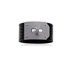 """Kelly Hermes bracelet in white gold and black crocodile leather with diamonds, GM, size medium. Adjustable from 5.9"""" to 6.2"""" long"""