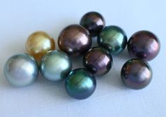 """Tahitian """"Black Pearls"""" come in many different shades of color. These are amazing for their luster and orient."""