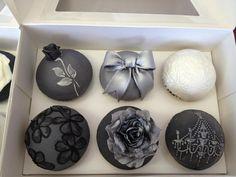 Elegant Cupcakes- digging the gray =) Elegant Cupcakes, Floral Cupcakes, Pretty Cupcakes, Beautiful Cupcakes, Wedding Cakes With Cupcakes, Yummy Cupcakes, Birthday Cupcakes, Amazing Cupcakes, Decorated Cupcakes