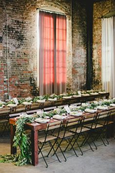 Photo: onelove photography via Style Me Pretty; Love the exposed brick softened by pink curtains.