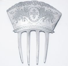 C 1860s Sterling Hair Comb Albert Coles NYC Hand Chased Engraved Both Sides | eBay