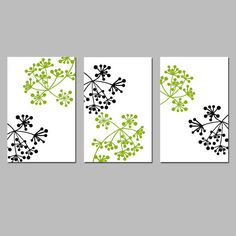 Modern Wall Art - Botanical Dot Trio - Set of Three 11x17 Floral Prints - Choose Your Colors - Shown in Black, White, and Olive Green