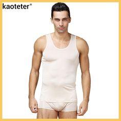 100% Pure Silk Men's Undershirts Male Sleeveless Clothing Men O-neck Slim Thin Vest Man Undershirt Tank Tops