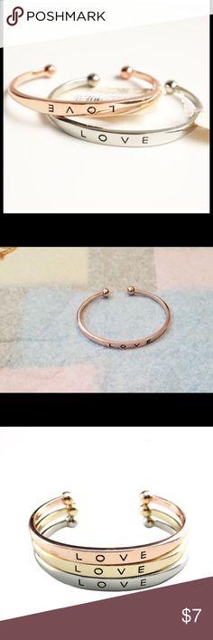 Love me, love me not bracelet Simple bracelet engraved with love gold toned Jewelry Bracelets