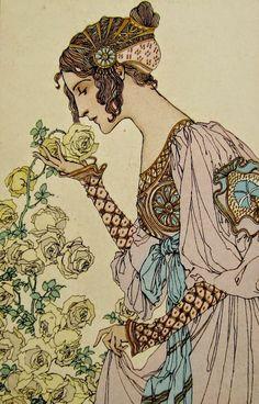 This post shows a variety of Art Nouveau postcards. The Art Nouveau period flourished from the until the First World War. Motif Art Deco, Art Nouveau Design, Design Art, Alphonse Mucha, Art And Illustration, Inspiration Art, Art Inspo, Jugendstil Design, Art Nouveau Poster