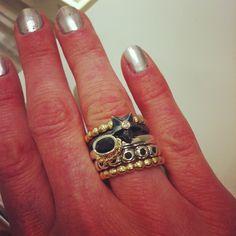 PANDORA 14k gold and sterling stack rings! Fun Holiday set @pandorasaintlouis.com